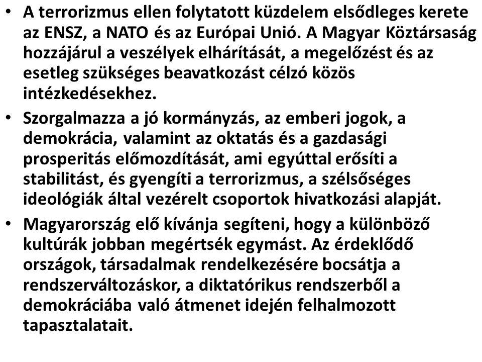A terrorizmus ellen folytatott küzdelem elsődleges kerete az ENSZ, a NATO és az Európai Unió. A Magyar Köztársaság hozzájárul a veszélyek elhárítását,