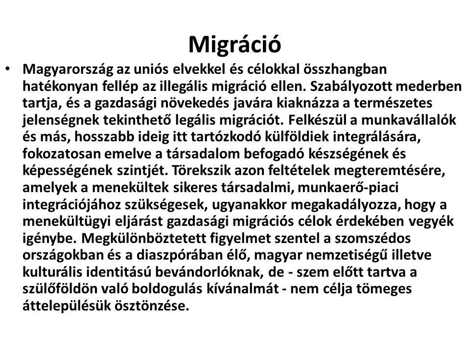 Migráció Magyarország az uniós elvekkel és célokkal összhangban hatékonyan fellép az illegális migráció ellen. Szabályozott mederben tartja, és a gazd