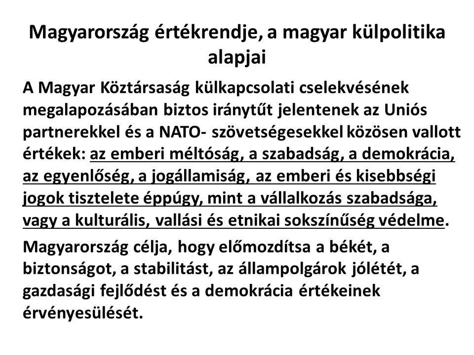 Magyarország értékrendje, a magyar külpolitika alapjai A Magyar Köztársaság külkapcsolati cselekvésének megalapozásában biztos iránytűt jelentenek az