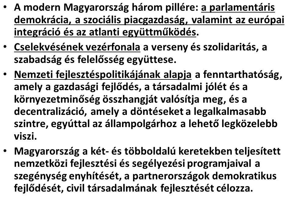 Harmadik főirány: felelős Magyarország a világban A magyar külpolitika következetesen törekszik a demokratikus értékek érvényesülésének világméretű előmozdítására, összhangban az egyetemes nemzetközi jognak az ENSZ Alapokmányában és az Európai Biztonsági és Együttműködési Értekezlet Helsinki Záróokmányában foglalt elveivel.