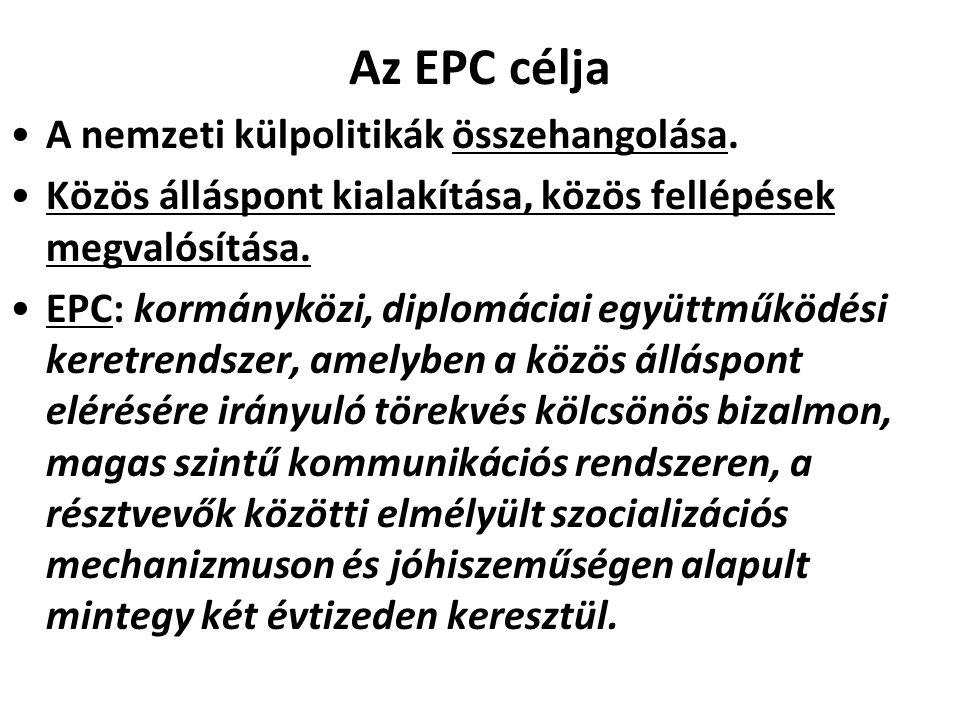 Az EPC célja A nemzeti külpolitikák összehangolása. Közös álláspont kialakítása, közös fellépések megvalósítása. EPC: kormányközi, diplomáciai együttm