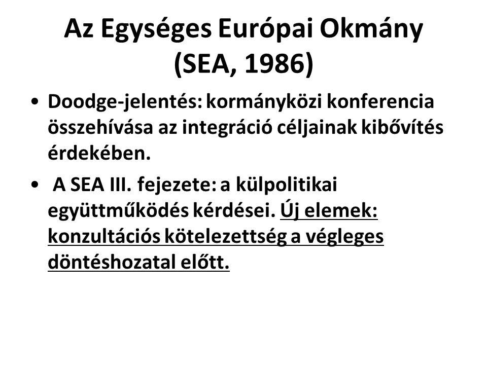 Az Egységes Európai Okmány (SEA, 1986) Doodge-jelentés: kormányközi konferencia összehívása az integráció céljainak kibővítés érdekében. A SEA III. fe