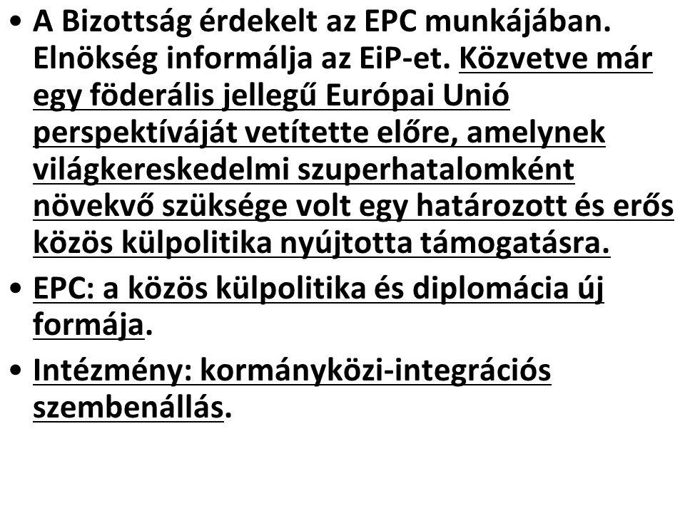 A Bizottság érdekelt az EPC munkájában. Elnökség informálja az EiP-et. Közvetve már egy föderális jellegű Európai Unió perspektíváját vetítette előre,