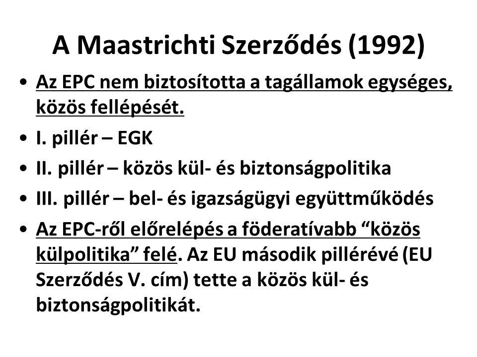 A Maastrichti Szerződés (1992) Az EPC nem biztosította a tagállamok egységes, közös fellépését. I. pillér – EGK II. pillér – közös kül- és biztonságpo