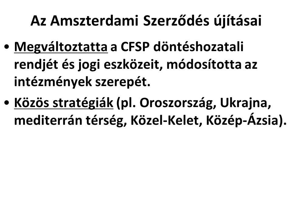 Az Amszterdami Szerződés újításai Megváltoztatta a CFSP döntéshozatali rendjét és jogi eszközeit, módosította az intézmények szerepét. Közös stratégiá