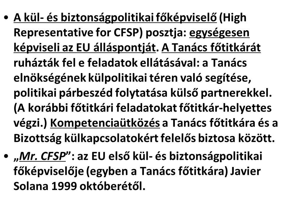 A kül- és biztonságpolitikai főképviselő (High Representative for CFSP) posztja: egységesen képviseli az EU álláspontját. A Tanács főtitkárát ruházták