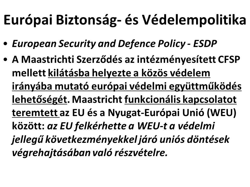 Európai Biztonság- és Védelempolitika European Security and Defence Policy - ESDP A Maastrichti Szerződés az intézményesített CFSP mellett kilátásba h