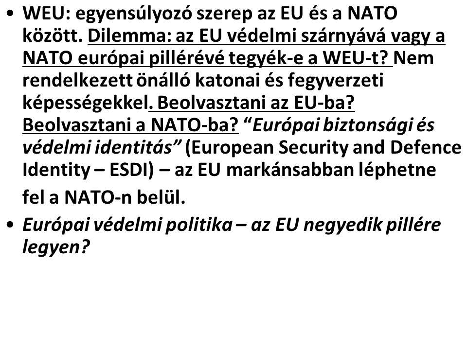 WEU: egyensúlyozó szerep az EU és a NATO között. Dilemma: az EU védelmi szárnyává vagy a NATO európai pillérévé tegyék-e a WEU-t? Nem rendelkezett öná