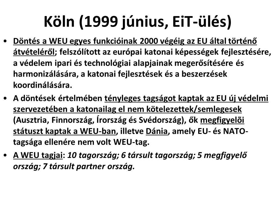 Köln (1999 június, EiT-ülés) Döntés a WEU egyes funkcióinak 2000 végéig az EU által történő átvételéről; felszólított az európai katonai képességek fe