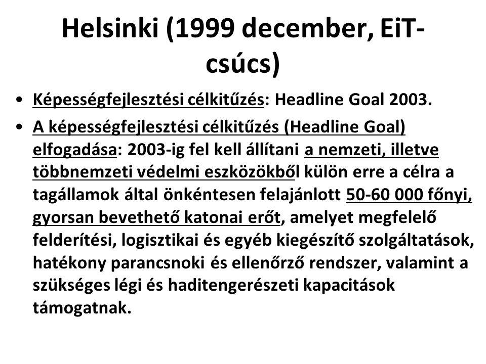 Helsinki (1999 december, EiT- csúcs) Képességfejlesztési célkitűzés: Headline Goal 2003. A képességfejlesztési célkitűzés (Headline Goal) elfogadása: