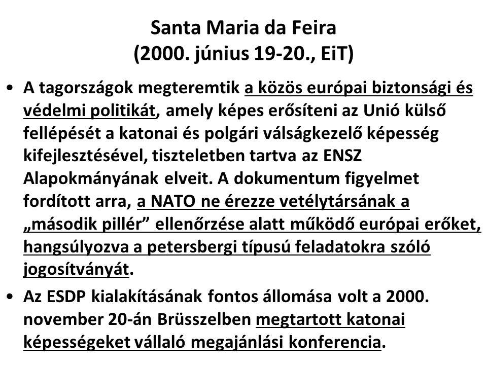 Santa Maria da Feira (2000. június 19-20., EiT) A tagországok megteremtik a közös európai biztonsági és védelmi politikát, amely képes erősíteni az Un