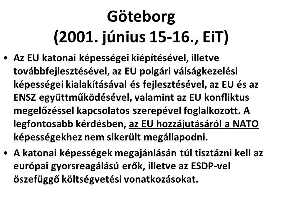 Göteborg (2001. június 15-16., EiT) Az EU katonai képességei kiépítésével, illetve továbbfejlesztésével, az EU polgári válságkezelési képességei kiala