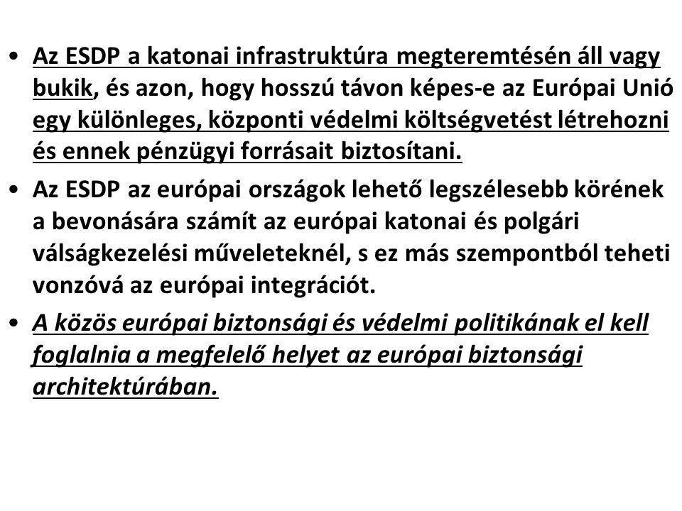 Az ESDP a katonai infrastruktúra megteremtésén áll vagy bukik, és azon, hogy hosszú távon képes-e az Európai Unió egy különleges, központi védelmi köl