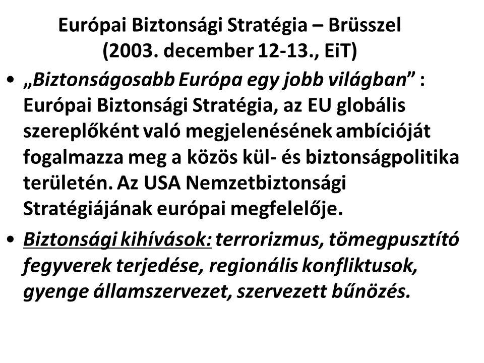 """Európai Biztonsági Stratégia – Brüsszel (2003. december 12-13., EiT) """"Biztonságosabb Európa egy jobb világban"""" : Európai Biztonsági Stratégia, az EU g"""