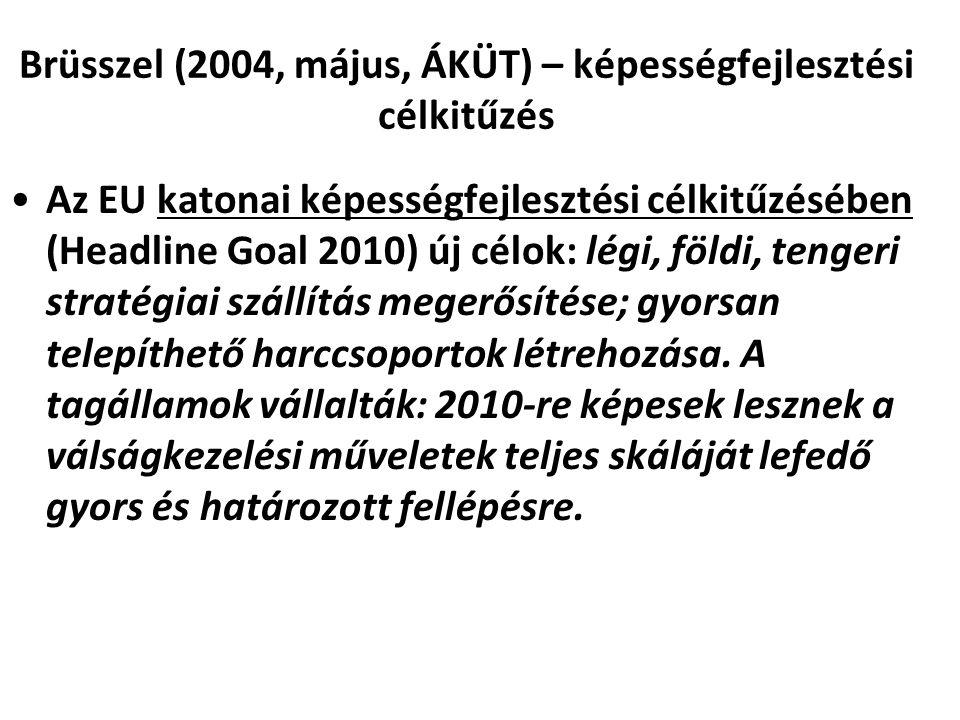 Brüsszel (2004, május, ÁKÜT) – képességfejlesztési célkitűzés Az EU katonai képességfejlesztési célkitűzésében (Headline Goal 2010) új célok: légi, fö
