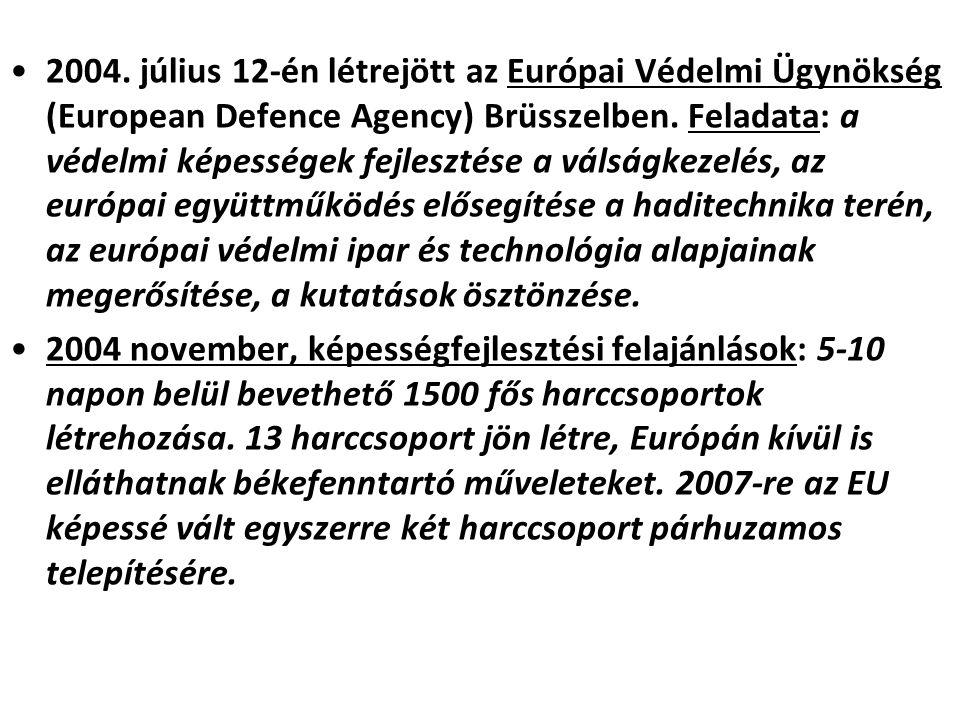 2004. július 12-én létrejött az Európai Védelmi Ügynökség (European Defence Agency) Brüsszelben. Feladata: a védelmi képességek fejlesztése a válságke