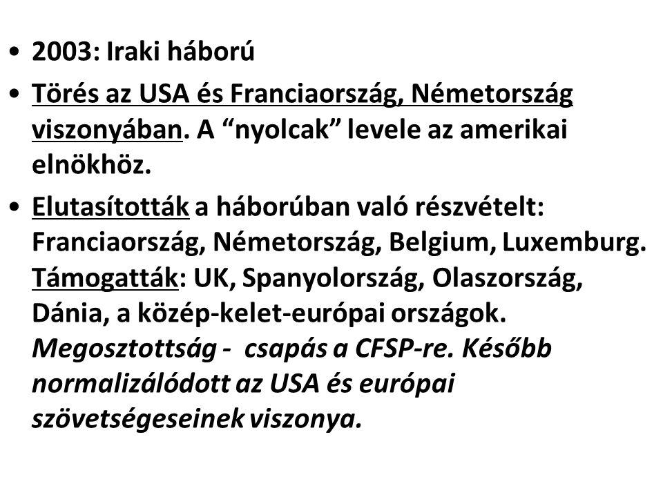 """2003: Iraki háború Törés az USA és Franciaország, Németország viszonyában. A """"nyolcak"""" levele az amerikai elnökhöz. Elutasították a háborúban való rés"""