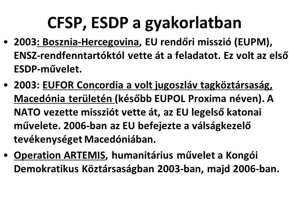 CFSP, ESDP a gyakorlatban 2003: Bosznia-Hercegovina, EU rendőri misszió (EUPM), ENSZ-rendfenntartóktól vette át a feladatot. Ez volt az első ESDP-műve