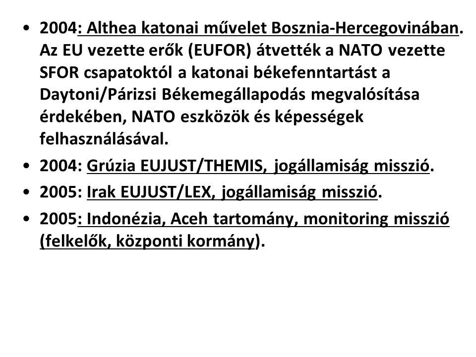 2004: Althea katonai művelet Bosznia-Hercegovinában. Az EU vezette erők (EUFOR) átvették a NATO vezette SFOR csapatoktól a katonai békefenntartást a D