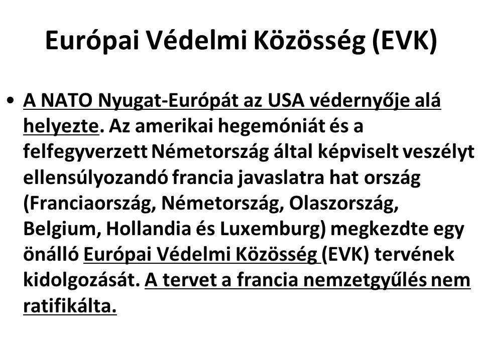 Európai Védelmi Közösség (EVK) A NATO Nyugat-Európát az USA védernyője alá helyezte. Az amerikai hegemóniát és a felfegyverzett Németország által képv
