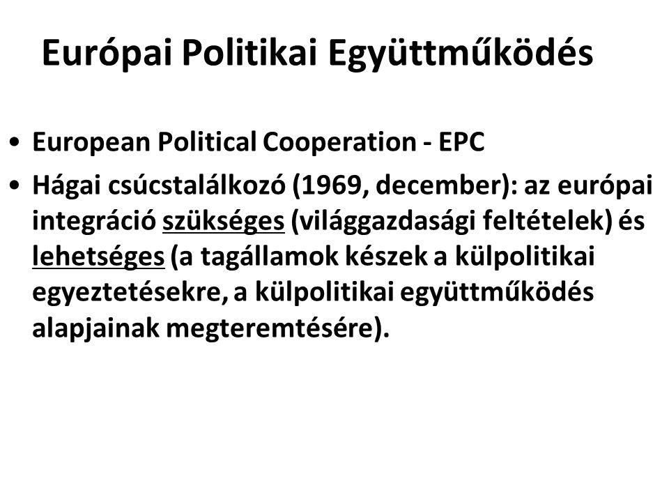 Európai Politikai Együttműködés European Political Cooperation - EPC Hágai csúcstalálkozó (1969, december): az európai integráció szükséges (világgazd