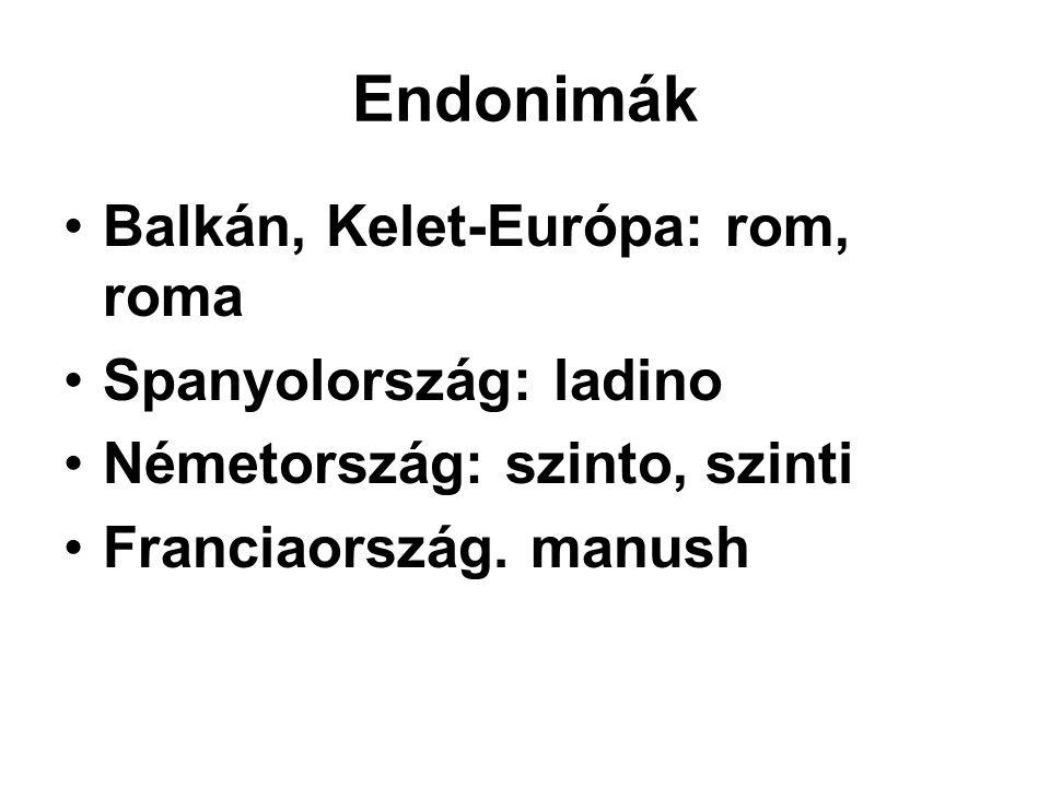 Endonimák Balkán, Kelet-Európa: rom, roma Spanyolország: ladino Németország: szinto, szinti Franciaország. manush