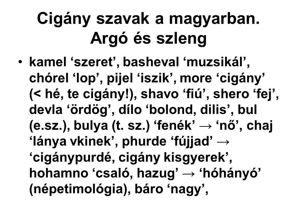Cigány szavak a magyarban. Argó és szleng kamel 'szeret', basheval 'muzsikál', chórel 'lop', pijel 'iszik', more 'cigány' (< hé, te cigány!), shavo 'f