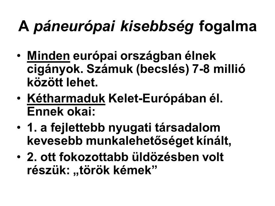 A páneurópai kisebbség fogalma Minden európai országban élnek cigányok. Számuk (becslés) 7-8 millió között lehet. Kétharmaduk Kelet-Európában él. Enne