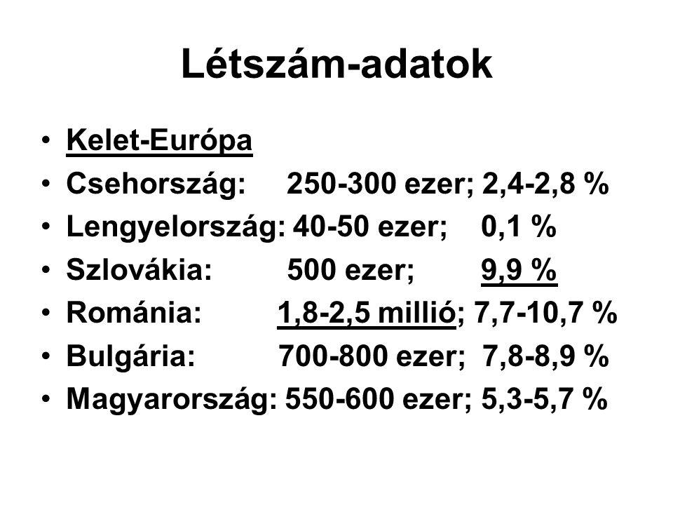 Létszám-adatok Kelet-Európa Csehország: 250-300 ezer; 2,4-2,8 % Lengyelország: 40-50 ezer; 0,1 % Szlovákia: 500 ezer; 9,9 % Románia: 1,8-2,5 millió; 7