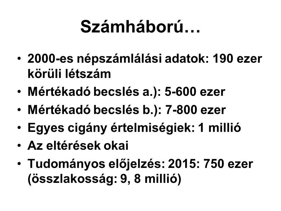 Számháború… 2000-es népszámlálási adatok: 190 ezer körüli létszám Mértékadó becslés a.): 5-600 ezer Mértékadó becslés b.): 7-800 ezer Egyes cigány ért