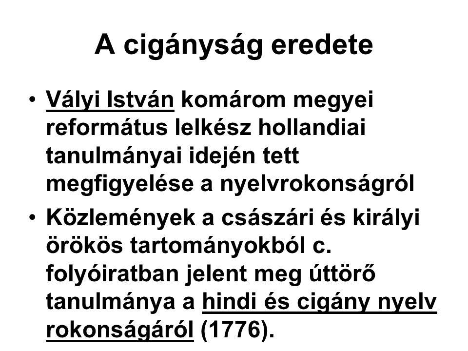 A cigányság eredete Vályi István komárom megyei református lelkész hollandiai tanulmányai idején tett megfigyelése a nyelvrokonságról Közlemények a cs