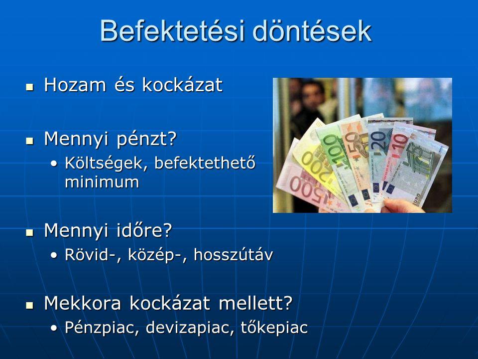 Befektetési döntések Hozam és kockázat Hozam és kockázat Mennyi pénzt? Mennyi pénzt? Költségek, befektethető minimumKöltségek, befektethető minimum Me