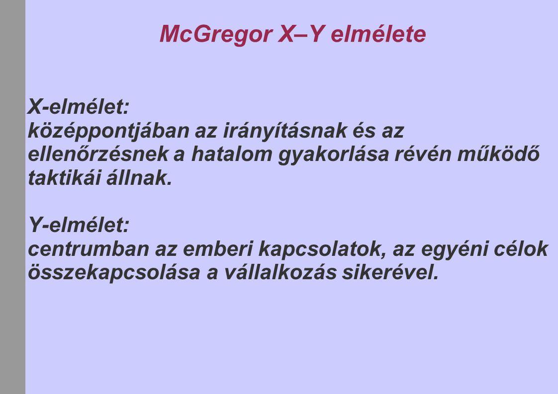 McGregor X–Y elmélete X-elmélet: középpontjában az irányításnak és az ellenőrzésnek a hatalom gyakorlása révén működő taktikái állnak. Y-elmélet: cent