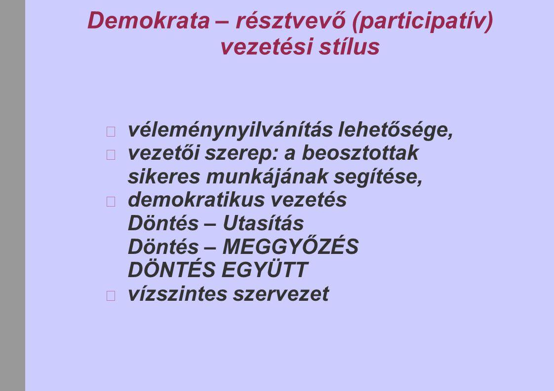 Demokrata – résztvevő (participatív) vezetési stílus véleménynyilvánítás lehetősége, vezetői szerep: a beosztottak sikeres munkájának segítése, demokratikus vezetés Döntés – Utasítás Döntés – MEGGYŐZÉS DÖNTÉS EGYÜTT vízszintes szervezet