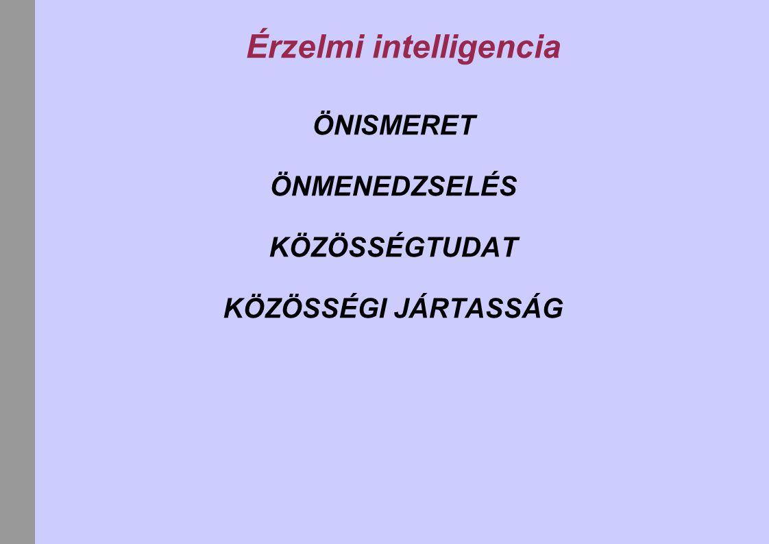 Érzelmi intelligencia ÖNISMERET ÖNMENEDZSELÉS KÖZÖSSÉGTUDAT KÖZÖSSÉGI JÁRTASSÁG