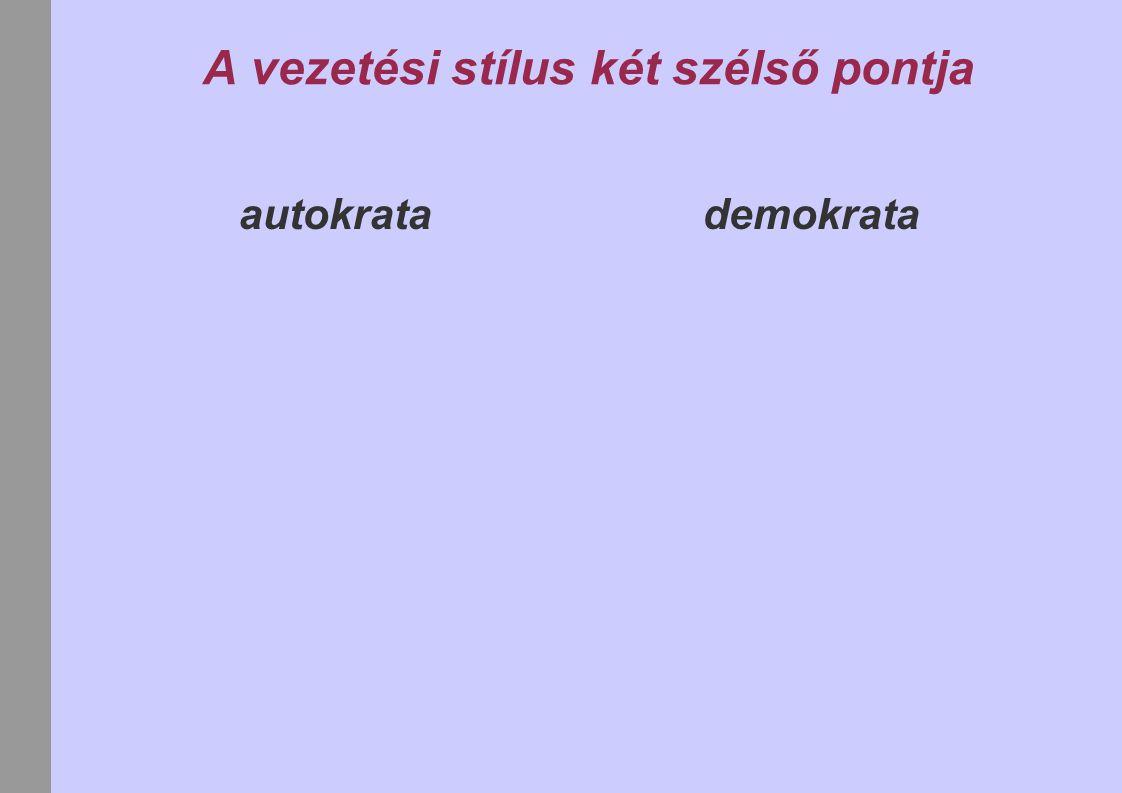 A vezetési stílus két szélső pontja autokrata demokrata