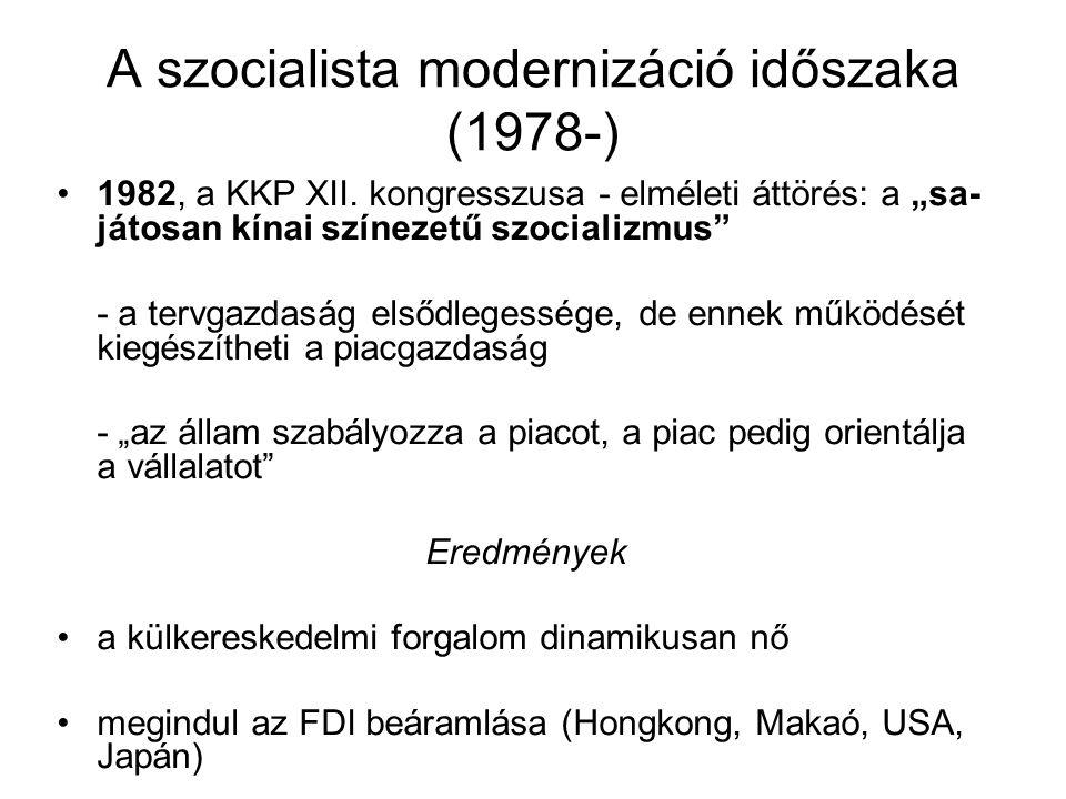 """A szocialista modernizáció időszaka (1978-) 1982, a KKP XII. kongresszusa - elméleti áttörés: a """"sa- játosan kínai színezetű szocializmus"""" - a tervgaz"""
