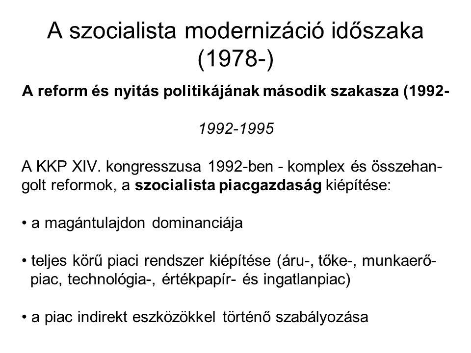 A szocialista modernizáció időszaka (1978-) A reform és nyitás politikájának második szakasza (1992- 1992-1995 A KKP XIV. kongresszusa 1992-ben - komp