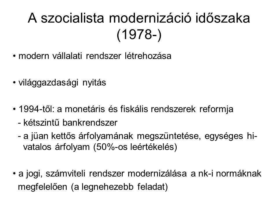 A szocialista modernizáció időszaka (1978-) modern vállalati rendszer létrehozása világgazdasági nyitás 1994-től: a monetáris és fiskális rendszerek r