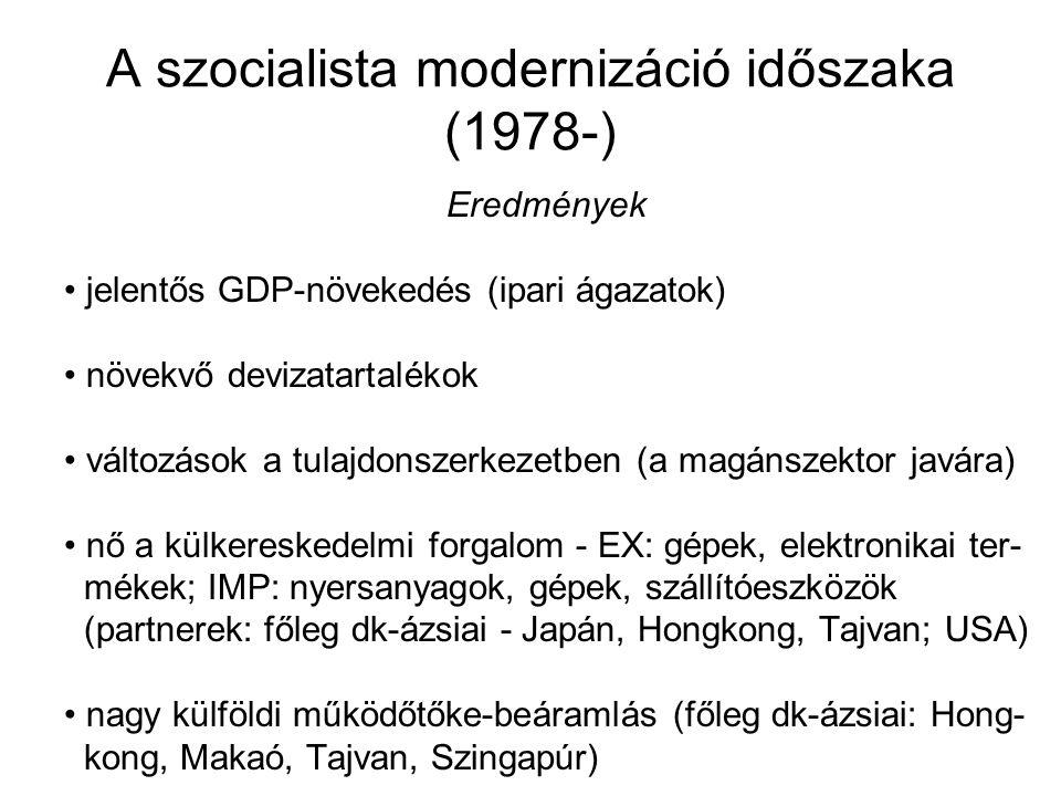 A szocialista modernizáció időszaka (1978-) Eredmények jelentős GDP-növekedés (ipari ágazatok) növekvő devizatartalékok változások a tulajdonszerkezet