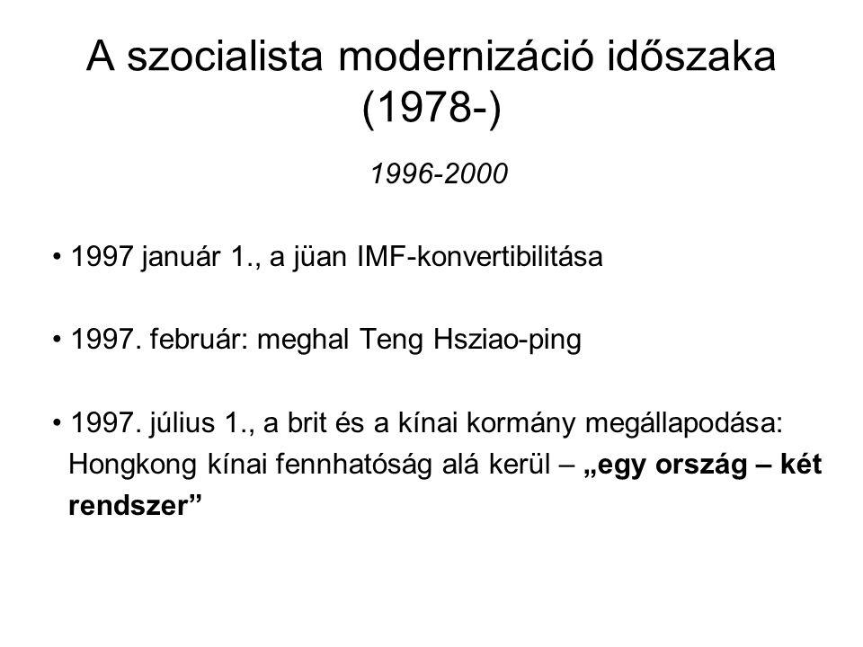 A szocialista modernizáció időszaka (1978-) 1996-2000 1997 január 1., a jüan IMF-konvertibilitása 1997. február: meghal Teng Hsziao-ping 1997. július