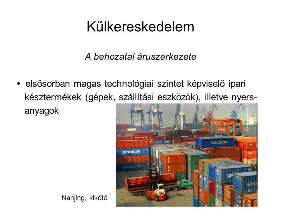 Külkereskedelem A behozatal áruszerkezete elsősorban magas technológiai szintet képviselő ipari késztermékek (gépek, szállítási eszközök), illetve nye