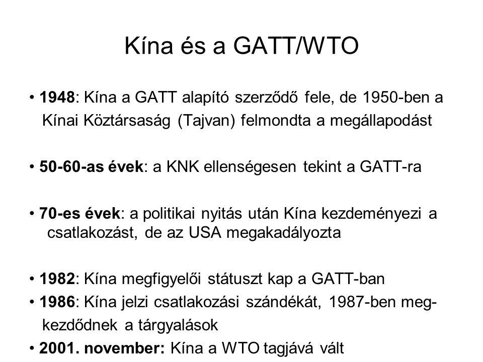 Kína és a GATT/WTO 1948: Kína a GATT alapító szerződő fele, de 1950-ben a Kínai Köztársaság (Tajvan) felmondta a megállapodást 50-60-as évek: a KNK el