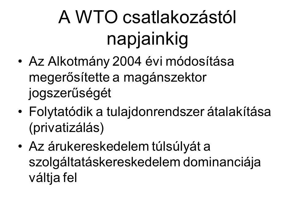 A WTO csatlakozástól napjainkig Az Alkotmány 2004 évi módosítása megerősítette a magánszektor jogszerűségét Folytatódik a tulajdonrendszer átalakítása
