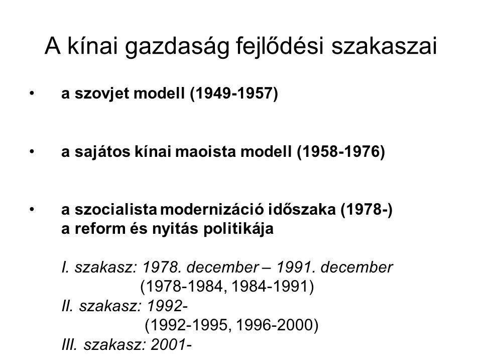 A kínai gazdaság fejlődési szakaszai a szovjet modell (1949-1957) a sajátos kínai maoista modell (1958-1976) a szocialista modernizáció időszaka (1978