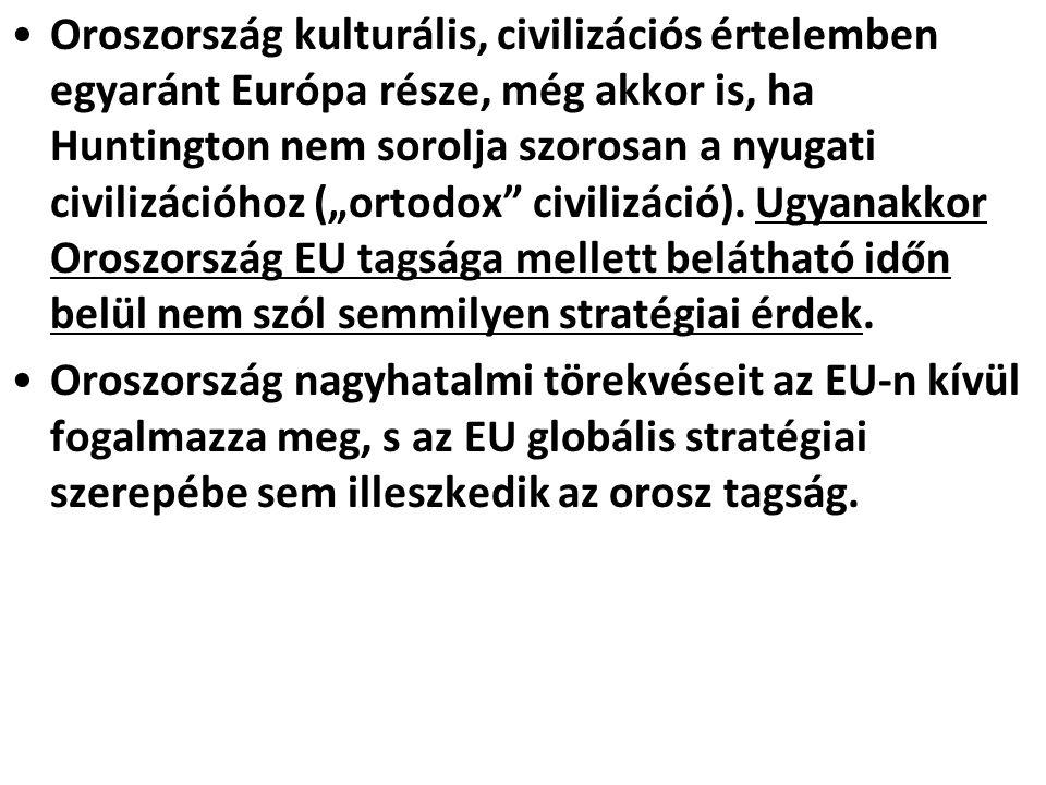 """Oroszország kulturális, civilizációs értelemben egyaránt Európa része, még akkor is, ha Huntington nem sorolja szorosan a nyugati civilizációhoz (""""ortodox civilizáció)."""