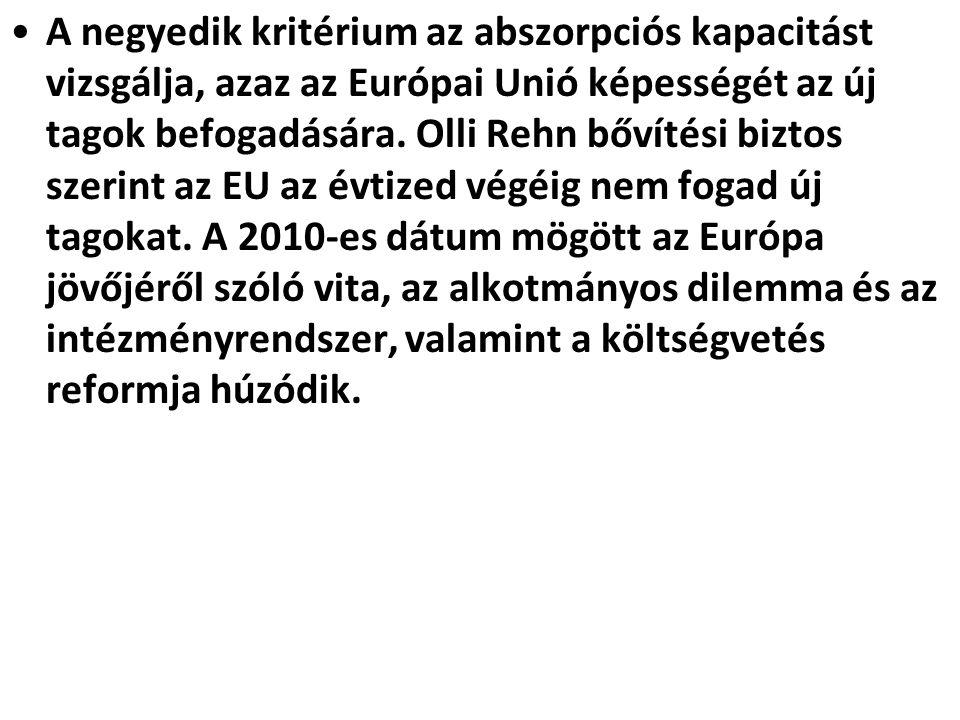 A negyedik kritérium az abszorpciós kapacitást vizsgálja, azaz az Európai Unió képességét az új tagok befogadására. Olli Rehn bővítési biztos szerint