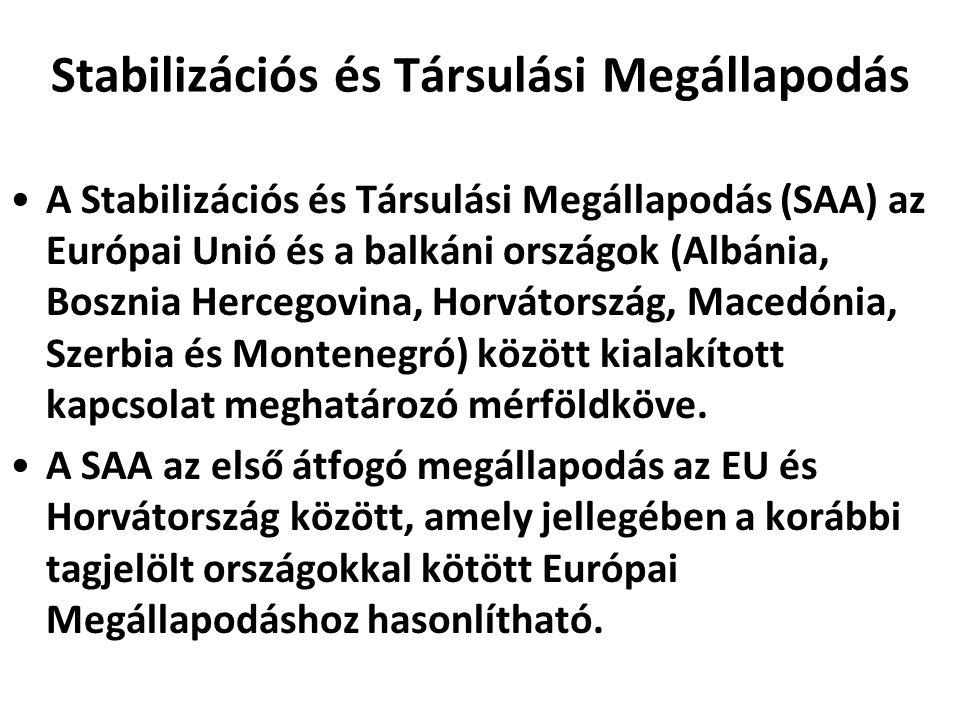 Stabilizációs és Társulási Megállapodás A Stabilizációs és Társulási Megállapodás (SAA) az Európai Unió és a balkáni országok (Albánia, Bosznia Hercegovina, Horvátország, Macedónia, Szerbia és Montenegró) között kialakított kapcsolat meghatározó mérföldköve.