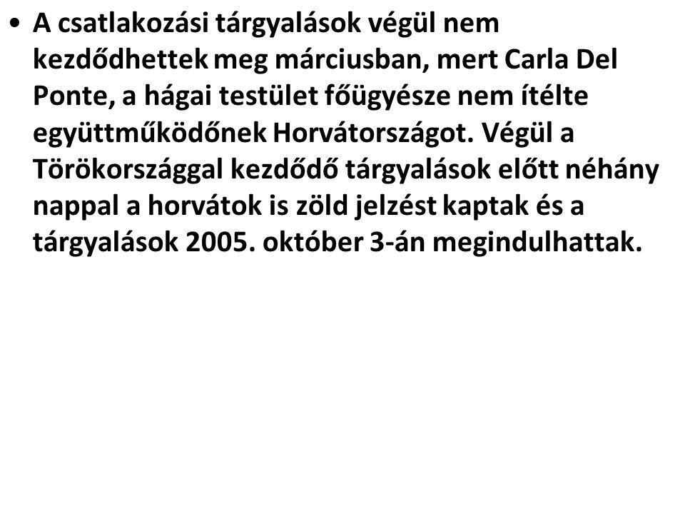 A csatlakozási tárgyalások végül nem kezdődhettek meg márciusban, mert Carla Del Ponte, a hágai testület főügyésze nem ítélte együttműködőnek Horvátországot.