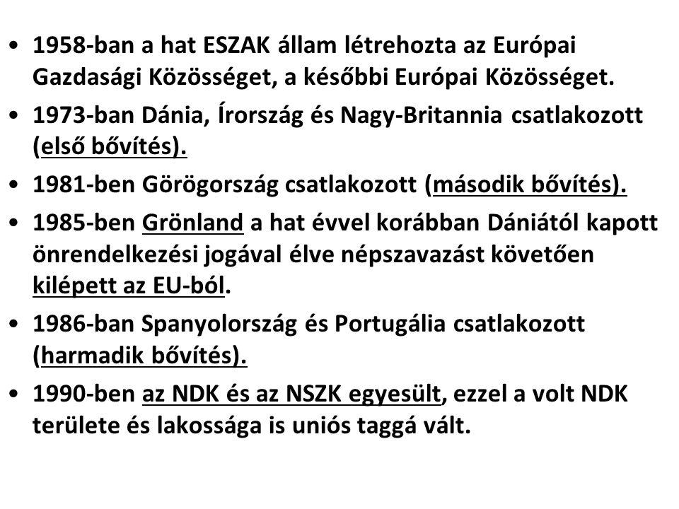 1958-ban a hat ESZAK állam létrehozta az Európai Gazdasági Közösséget, a későbbi Európai Közösséget.